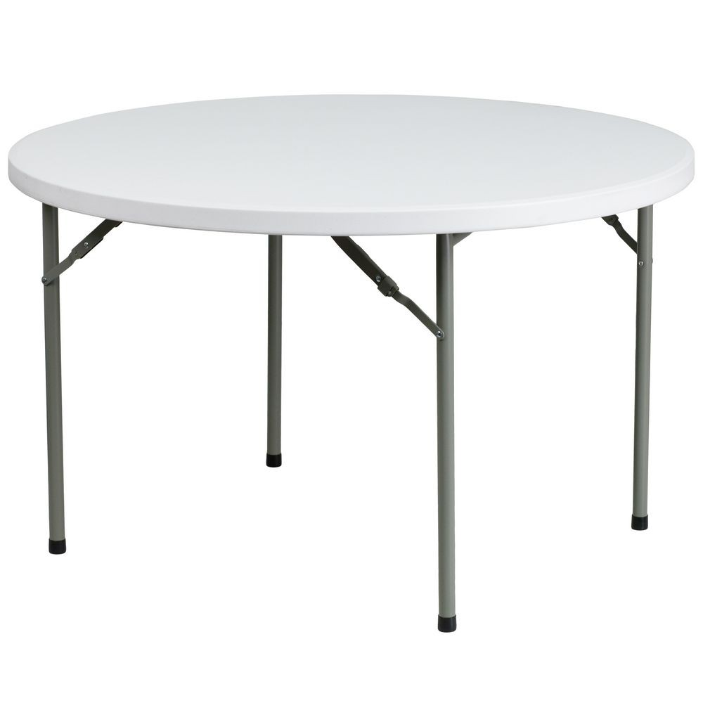 Flash Furniture DAD-YCZ-122R-GG Round Granite White Plastic Folding Table 48""