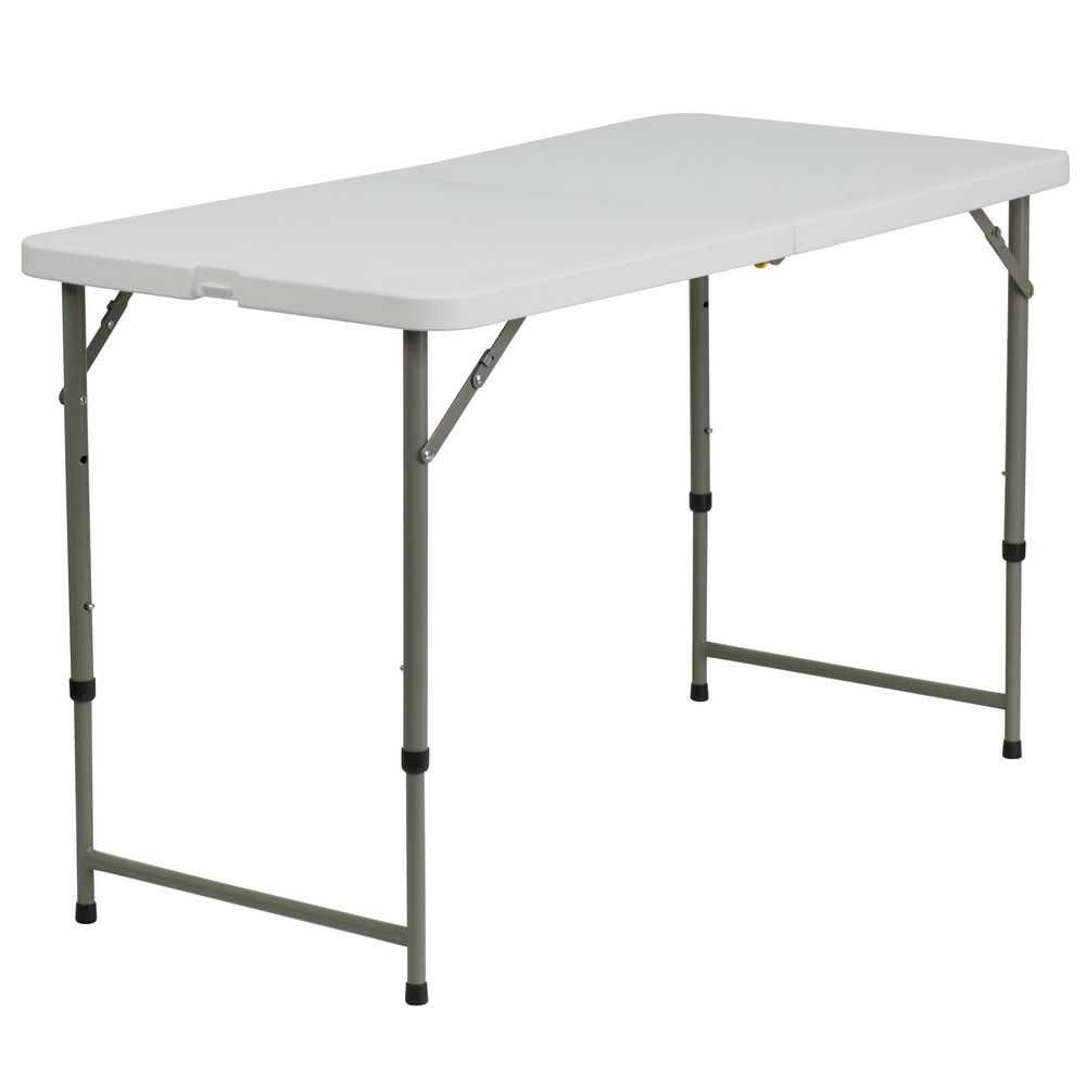 4 foot adjustable height folding table - Flash Furniture Dad Ycz 122z 2 Gg Height Adjustable Granite White Plastic Folding Table