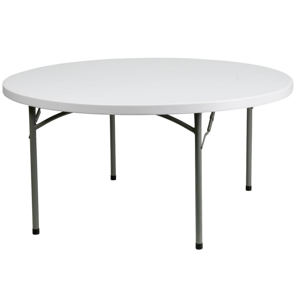 Flash Furniture DAD-YCZ-152R-GW-GG Round Granite White Plastic Folding Table 60""