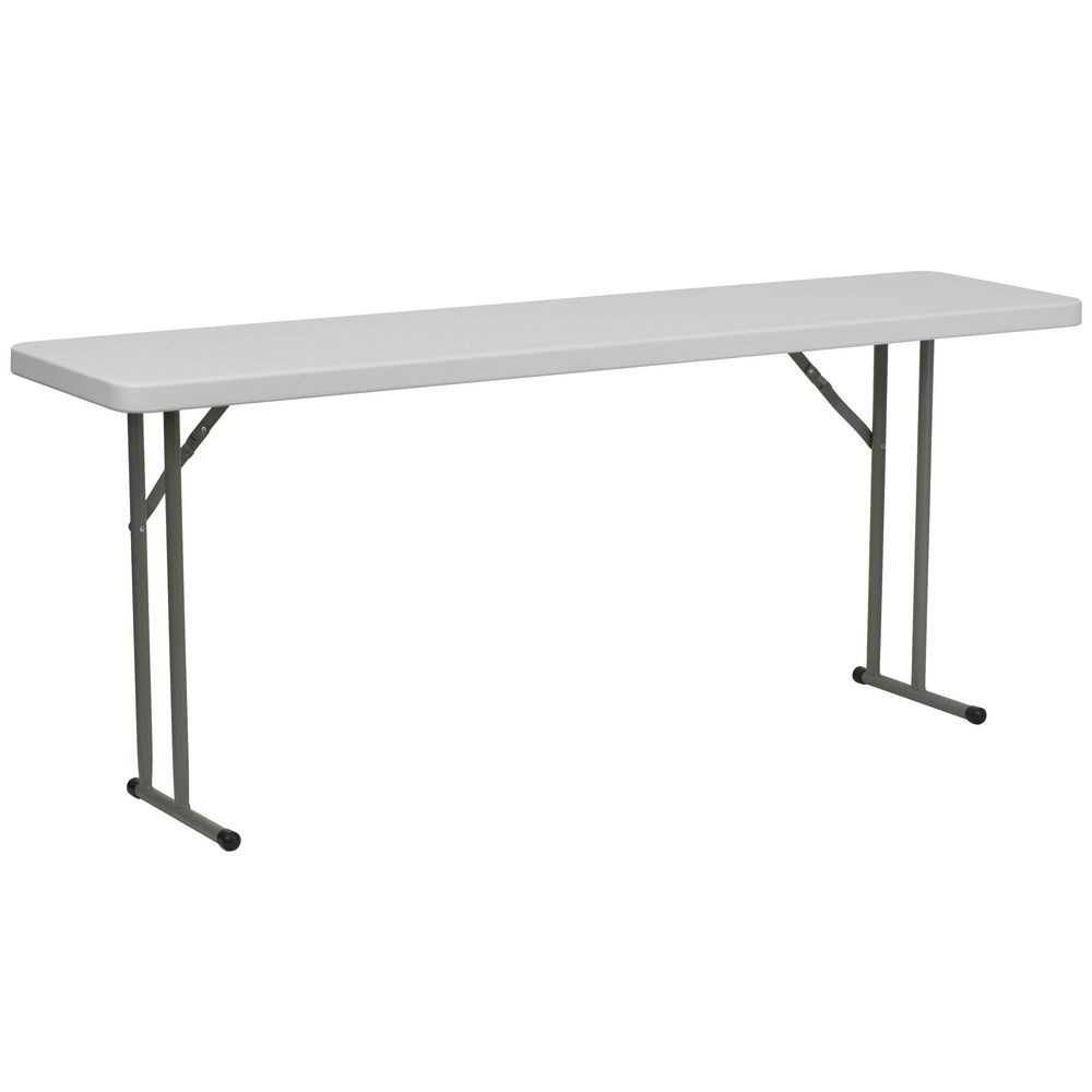 "Flash Furniture DAD-YCZ-180-GW-GG Granite White Plastic Folding Training Table, 18"" x 72"""