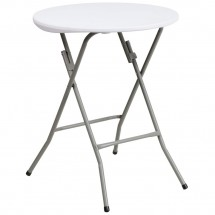 Flash Furniture DAD-YCZ-80R-1-SM-GW-GG Round Granite White Plastic Folding Table, 24''