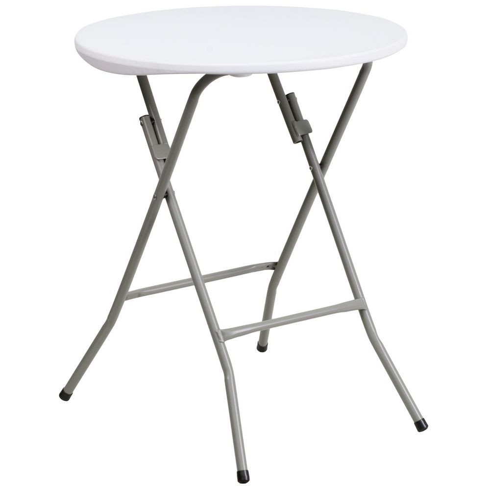 Flash Furniture DAD-YCZ-80R-1-SM-GW-GG Round Granite White Plastic Folding Table 24""