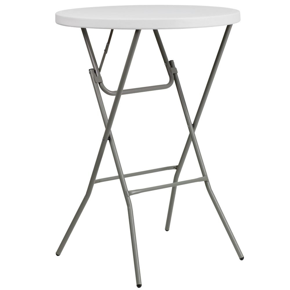 Flash Furniture DAD-YCZ-80R-2-BAR-GW-GG Round Granite White Plastic Bar Height Folding Table, 32