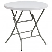 Flash Furniture DAD-YCZ-80R-GW-GG Round Granite White Plastic Folding Table, 32''