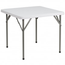 Flash Furniture DAD-YCZ-86-GG Square Granite White Plastic Folding Table, 34''