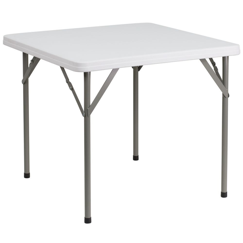 Flash Furniture DAD-YCZ-86-GG Square Granite White Plastic Folding Table 34""