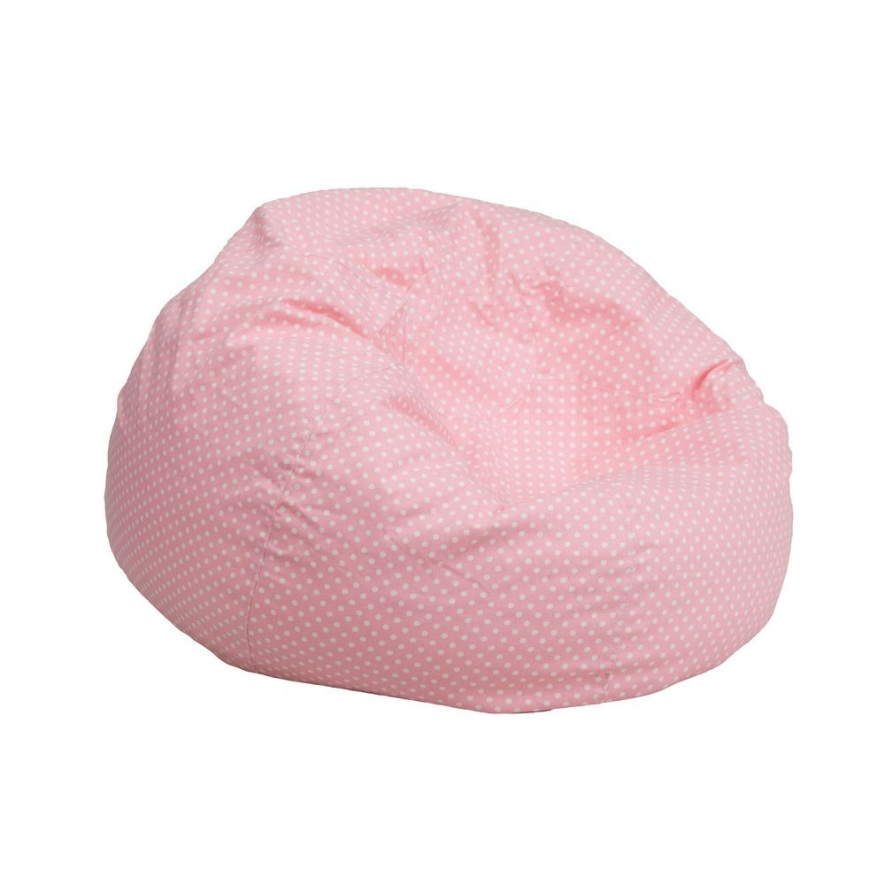 Flash Furniture DG-BEAN-SMALL-DOT-PK-GG Light Pink Dot Small Kids Bean Bag Chair