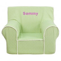 Flash Furniture DG-CH-KID-DOT-GRN-GG Green Dot Small Kids Chair with White Piping