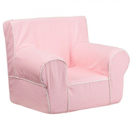 Flash Furniture DG-CH-KID-DOT-PK-GG Light Pink Dot Small Kids Chair with White Piping