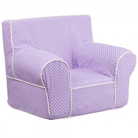 Flash Furniture DG-CH-KID-DOT-PUR-GG Lavender Dot Small Kids Chair with White Piping