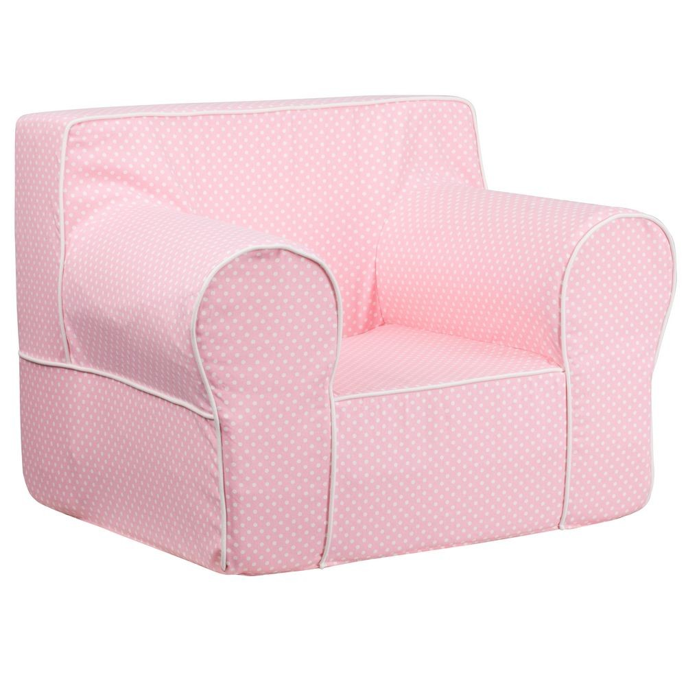 Flash Furniture DG-LGE-CH-KID-DOT-PK-GG Oversized Light Pink Dot Kids Chair with White Piping