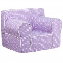 Flash Furniture DG-LGE-CH-KID-DOT-PUR-GG Oversized Lavender Dot Kids Chair with White Piping