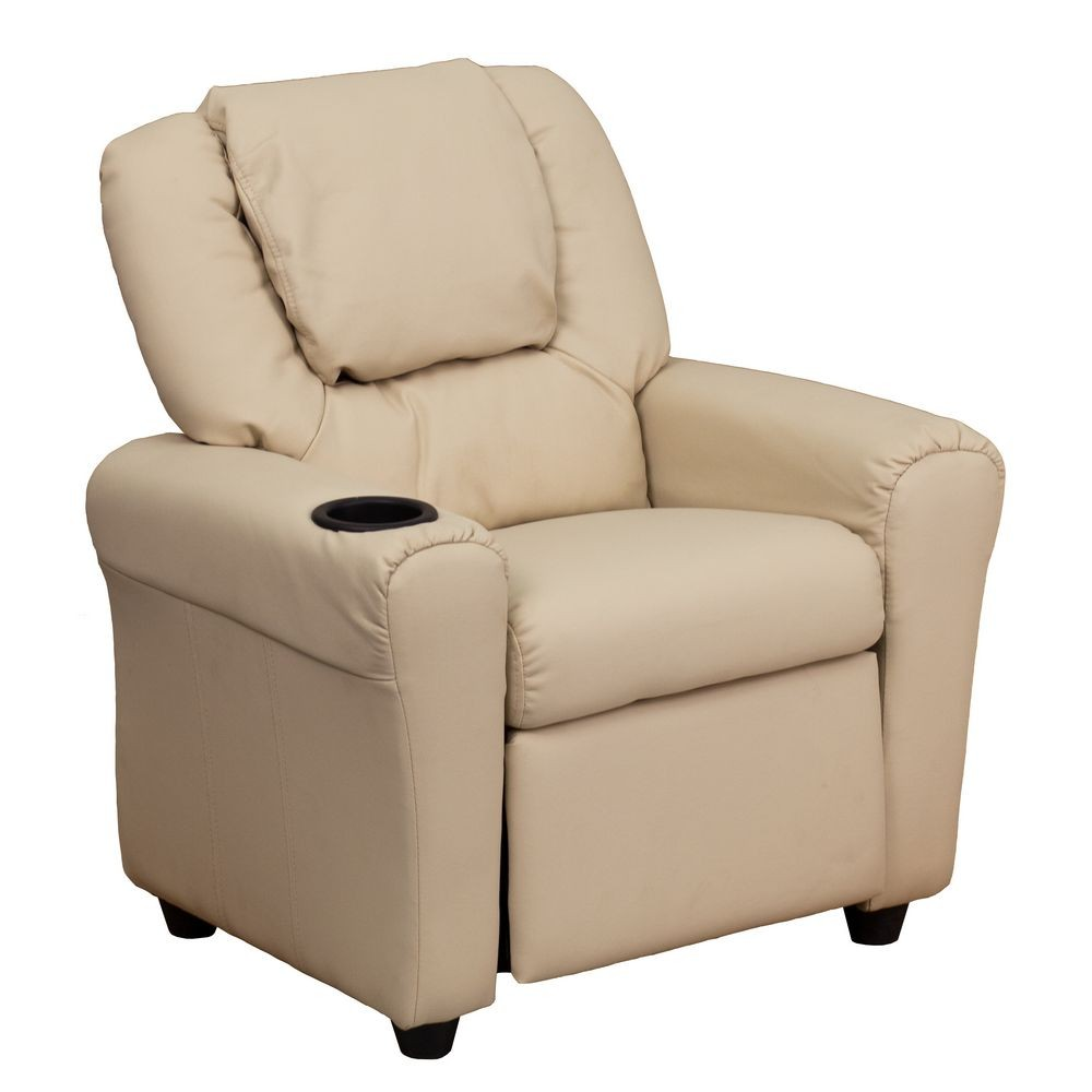 Flash Furniture DG-ULT-KID-BGE-GG Contemporary Beige Vinyl Kids Recliner with Cup Holder and Headrest