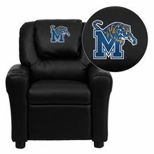 Flash Furniture DG-ULT-KID-BK-40003-EMB-GG Memphis Tigers Embroidered Black Vinyl Kids Recliner with Cup Holder and Headrest