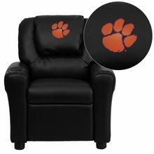 Flash Furniture DG-ULT-KID-BK-40006-EMB-GG Clemson University Tigers Embroidered Black Vinyl Kids Recliner with Cup Holder and Headrest