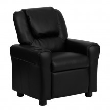 Flash Furniture DG-ULT-KID-BK-GG Contemporary Black Leather Kids Recliner with Cup Holder and Headrest