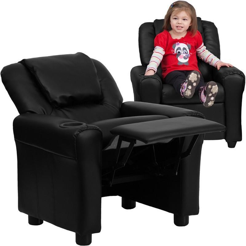 Flash Furniture DG-ULT-KID-BK-GG Contemporary Black Vinyl Kids Recliner with Cup Holder and Headrest