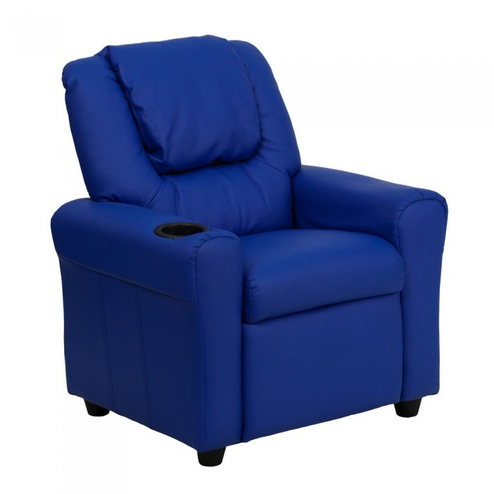Flash Furniture DG-ULT-KID-BLUE-GG Contemporary Blue Vinyl Kids Recliner with Cup Holder and Headrest