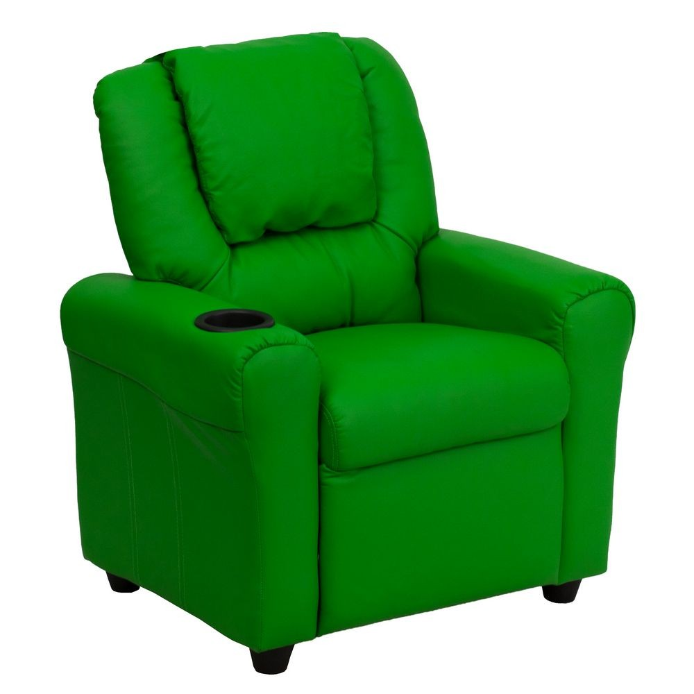 Flash Furniture DG-ULT-KID-GRN-GG Contemporary Green Vinyl Kids Recliner with Cup Holder and Headrest