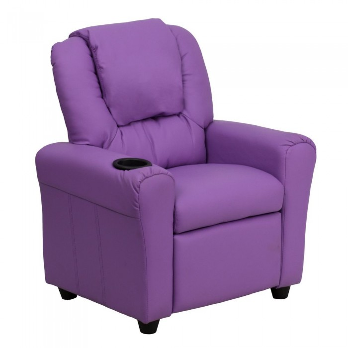 Flash Furniture DG-ULT-KID-LAV-GG Contemporary Lavender Vinyl Kids Recliner with Cup Holder and Headrest