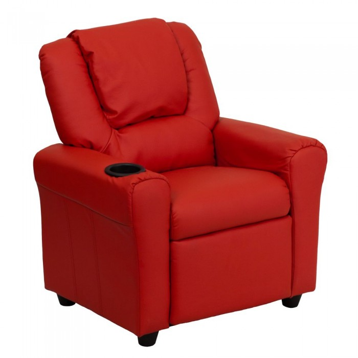 Flash Furniture DG-ULT-KID-RED-GG Contemporary Red Vinyl Kids Recliner with Cup Holder and Headrest