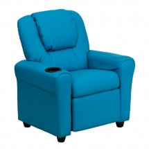 Flash Furniture DG-ULT-KID-TURQ-GG Contemporary Turquoise Vinyl Kids Recliner with Cup Holder and Headrest