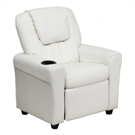 Flash Furniture DG-ULT-KID-WHITE-GG Contemporary White Vinyl Kids Recliner with Cup Holder and Headrest
