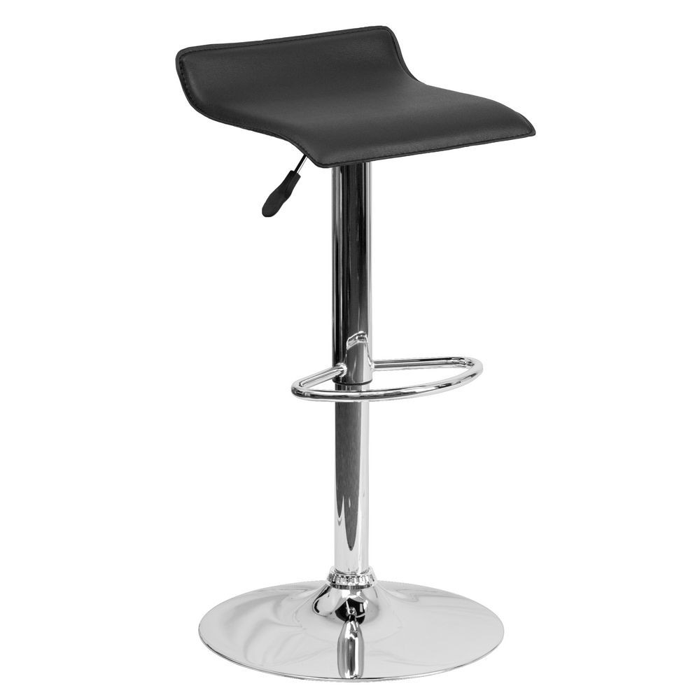 Flash Furniture DS-801-CONT-BK-GG Contemporary Black Vinyl Adjustable Height Bar Stool