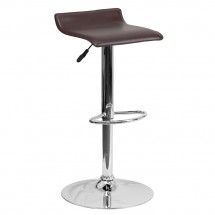 Flash Furniture DS-801-CONT-BRN-GG Contemporary Brown Vinyl Adjustable Height Bar Stool