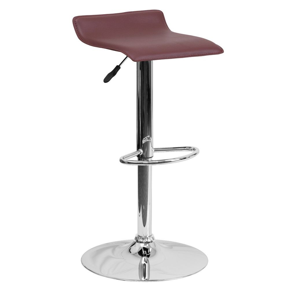 Flash Furniture DS-801-CONT-BURG-GG Contemporary Burgundy Vinyl Adjustable Height Bar Stool