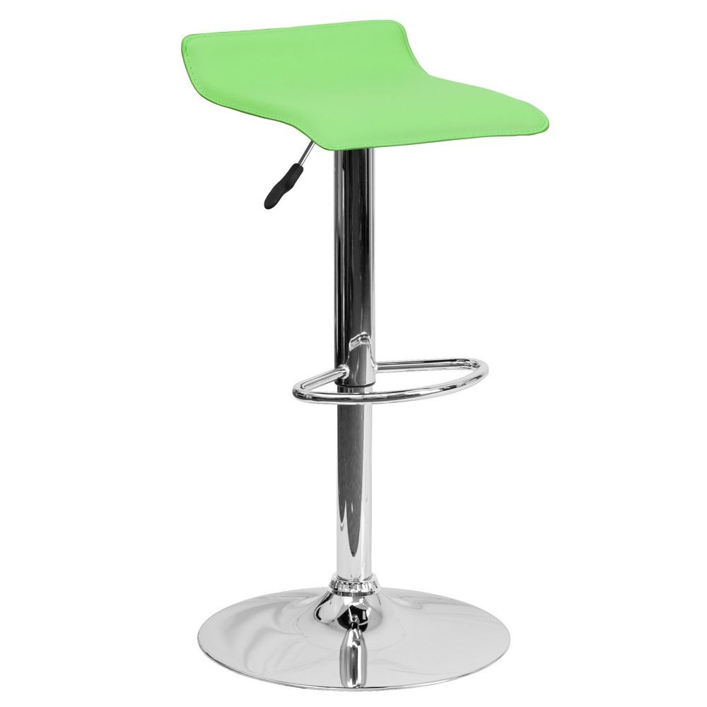 Flash Furniture DS-801-CONT-GRN-GG Contemporary Green Vinyl Adjustable Height Bar Stool