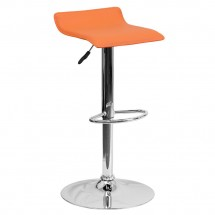 Flash Furniture DS-801-CONT-ORG-GG Contemporary Orange Vinyl Adjustable Height Bar Stool