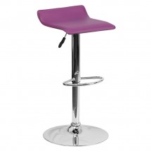 Flash Furniture DS-801-CONT-PUR-GG Contemporary Purple Vinyl Adjustable Height Bar Stool