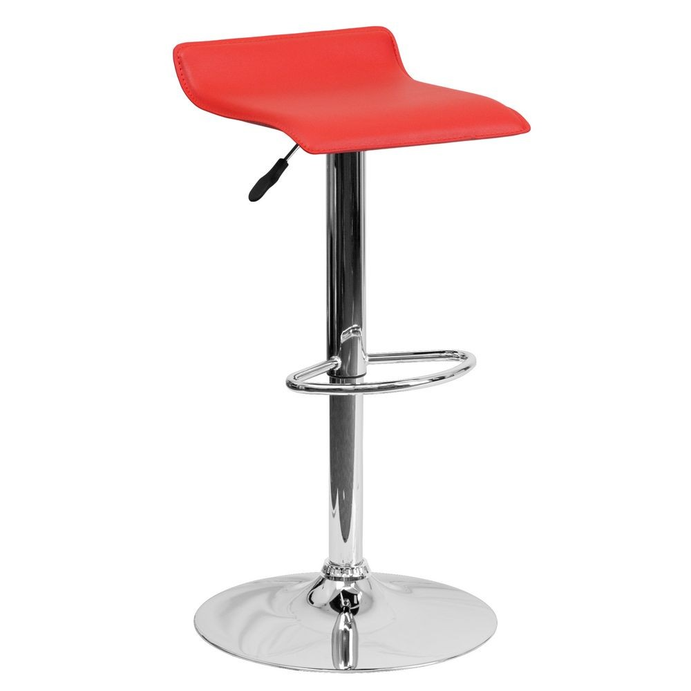 Flash Furniture DS-801-CONT-RED-GG Contemporary Red Vinyl Adjustable Height Bar Stool