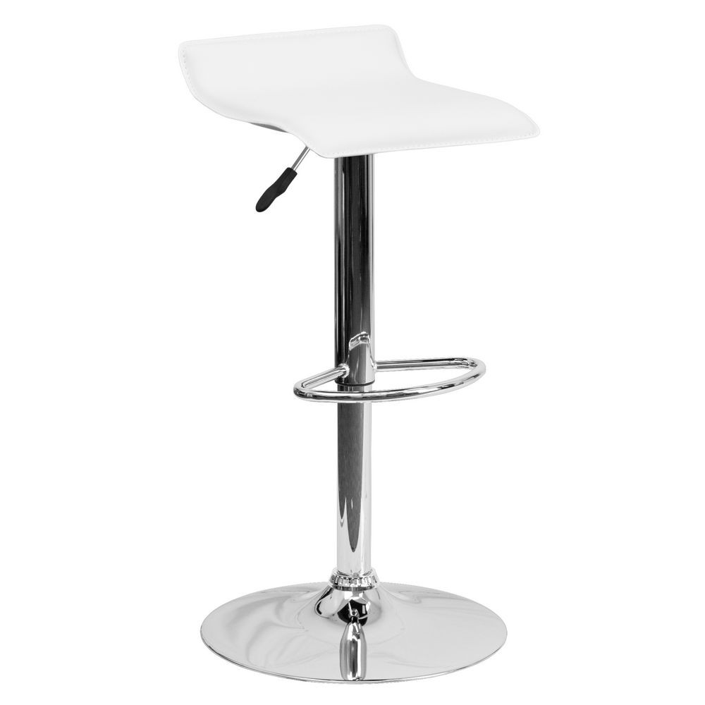 Flash Furniture DS-801-CONT-WH-GG Contemporary White Vinyl Adjustable Height Bar Stool