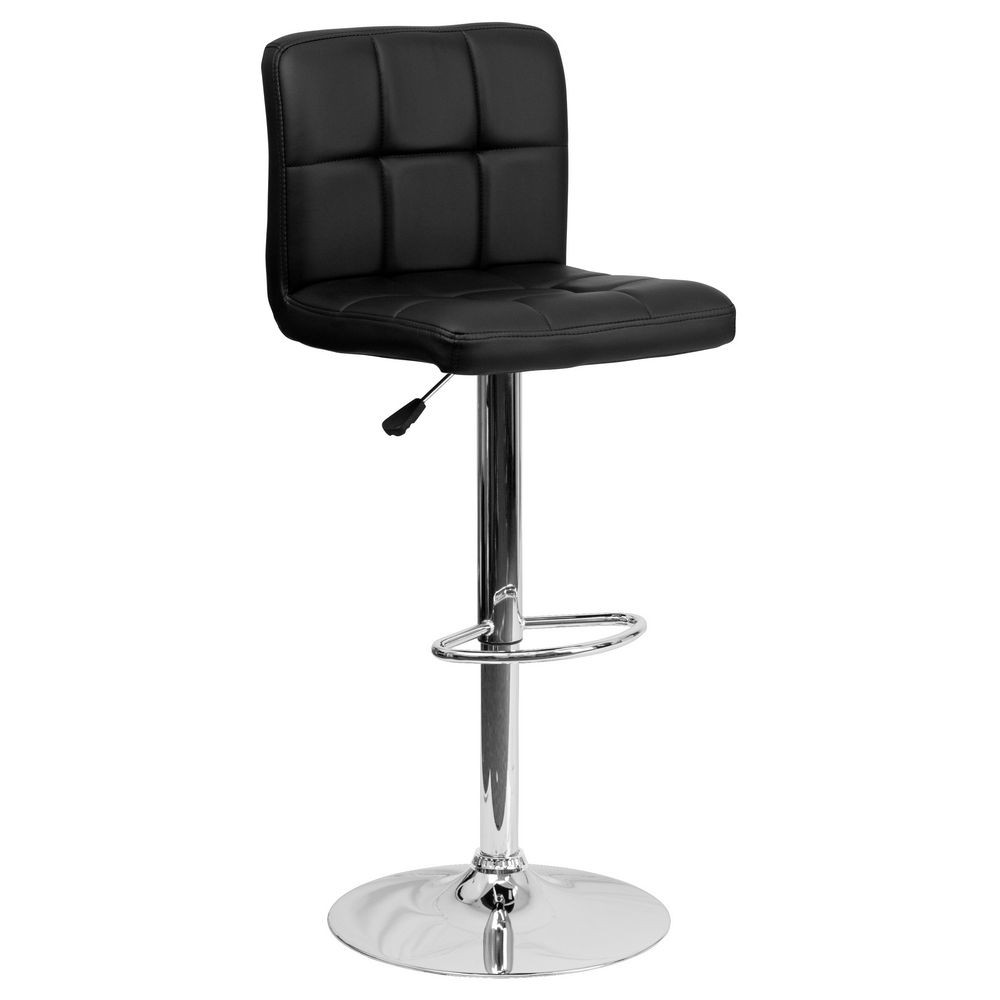 Flash Furniture DS-810-MOD-BK-GG Contemporary Black Quilted Vinyl Adjustable Height Bar Stool