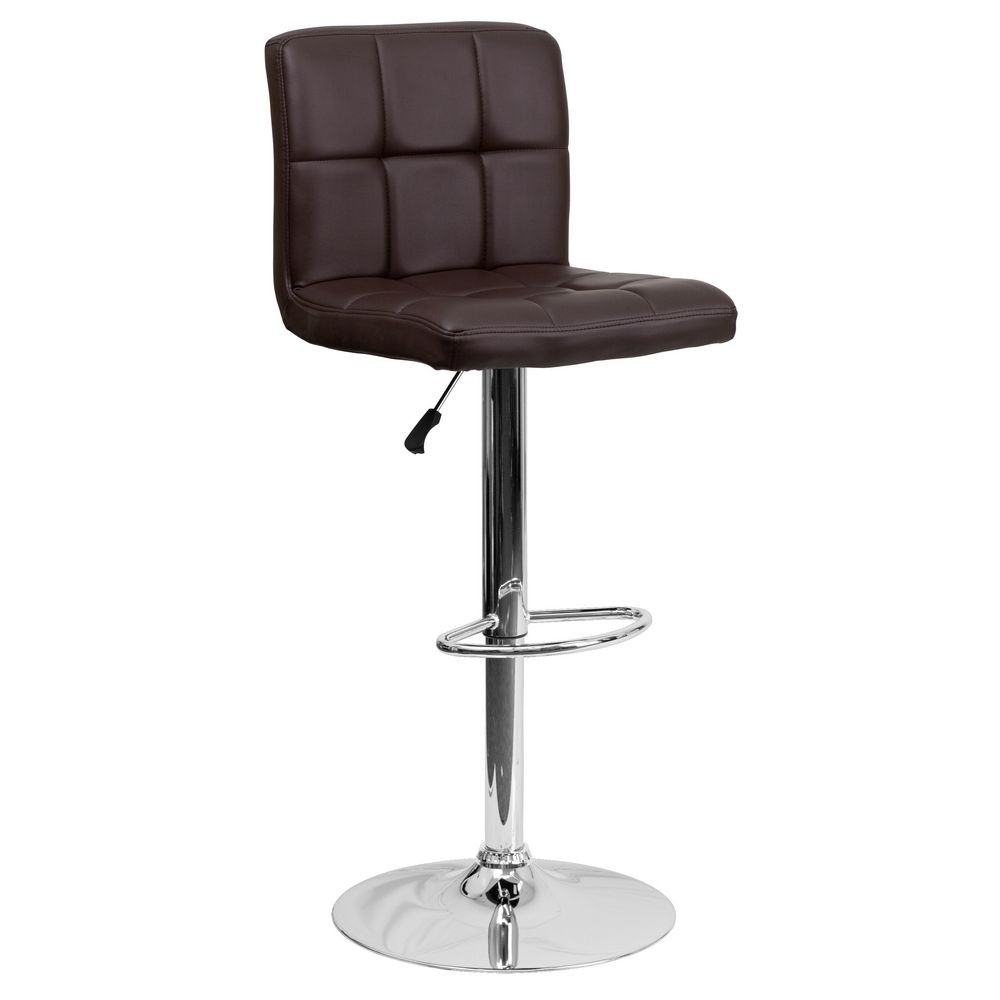 Flash Furniture DS-810-MOD-BRN-GG Contemporary Brown Quilted Vinyl Adjustable Height Bar Stool