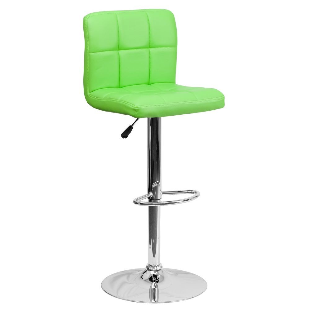 Flash Furniture DS-810-MOD-GRN-GG Contemporary Green Quilted Vinyl Adjustable Height Bar Stool