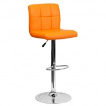 Flash Furniture DS-810-MOD-ORG-GG Contemporary Orange Quilted Vinyl Adjustable Height Bar Stool