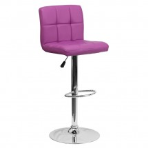 Flash Furniture DS-810-MOD-PUR-GG Contemporary Purple Quilted Vinyl Adjustable Height Bar Stool