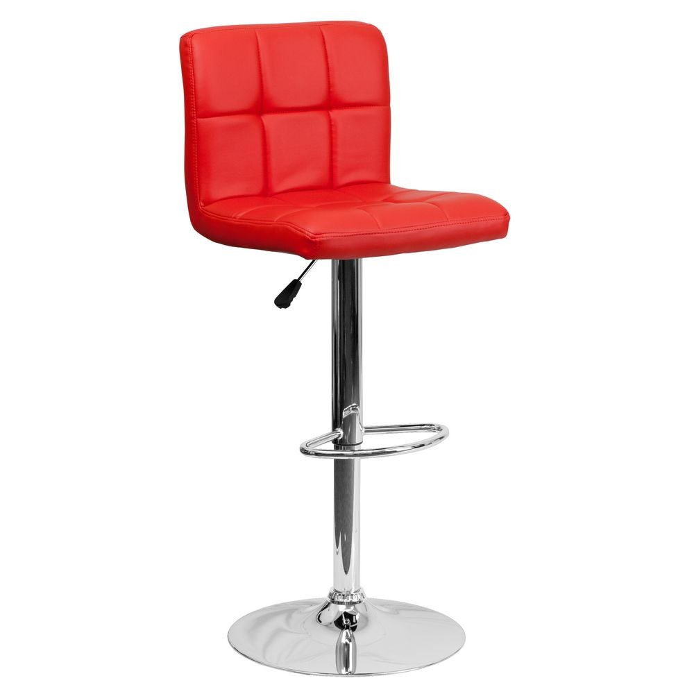 Flash Furniture DS-810-MOD-RED-GG Contemporary Red Quilted Vinyl Adjustable Height Bar Stool