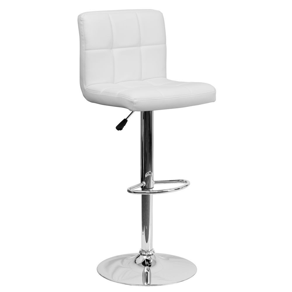 Flash Furniture DS-810-MOD-WH-GG Contemporary White Quilted Vinyl Adjustable Height Bar Stool