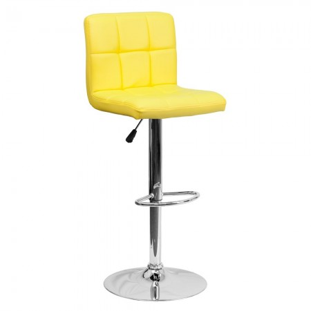 Flash Furniture DS-810-MOD-YEL-GG Contemporary Yellow Quilted Vinyl Adjustable Height Bar Stool