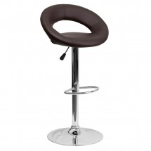 Flash Furniture DS-811-BRN-GG Contemporary Brown Vinyl Rounded Back Adjustable Height Bar Stool