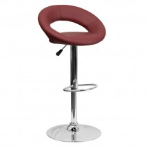 Flash Furniture DS-811-BURG-GG Contemporary Burgundy Vinyl Rounded Back Adjustable Height Bar Stool