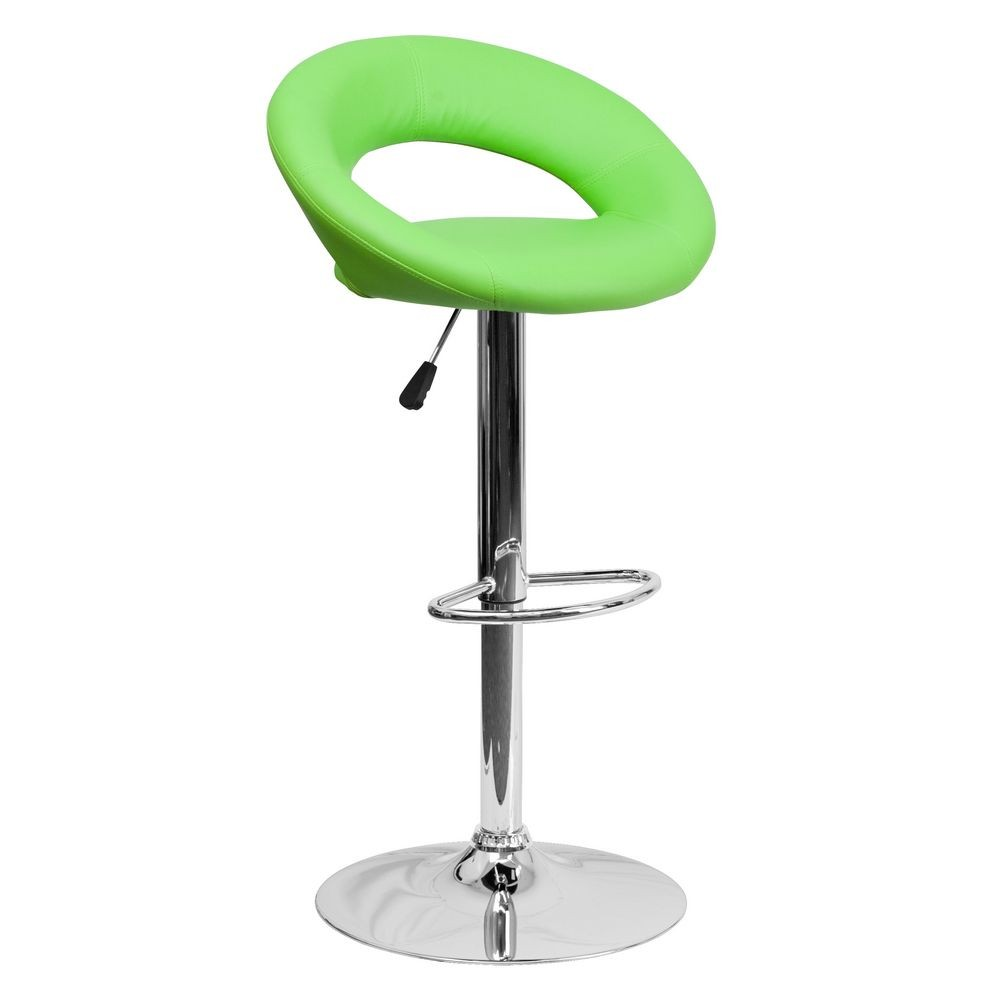 Flash Furniture DS-811-GRN-GG Contemporary Green Vinyl Rounded Back Adjustable Height Bar Stool