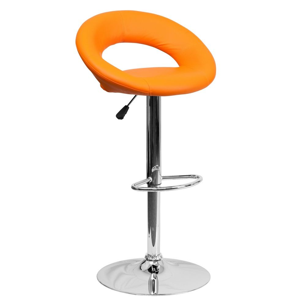 Flash Furniture DS-811-ORG-GG Contemporary Orange Vinyl Rounded Back Adjustable Height Bar Stool
