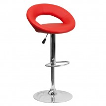 Flash Furniture DS-811-RED-GG Contemporary Red Vinyl Rounded Back Adjustable Height Bar Stool