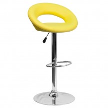 Flash Furniture DS-811-YEL-GG Contemporary Yellow Vinyl Rounded Back Adjustable Height Bar Stool