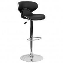 Flash Furniture DS-815-BK-GG Contemporary Cozy Mid-Back Black Vinyl Adjustable Height Bar Stool